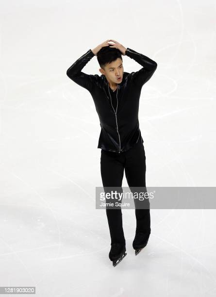 Jimmy Ma of the USA competes in the Mens Short Program during the ISU Grand Prix of Figure Skating at the Orleans Arena on October 23, 2020 in Las...