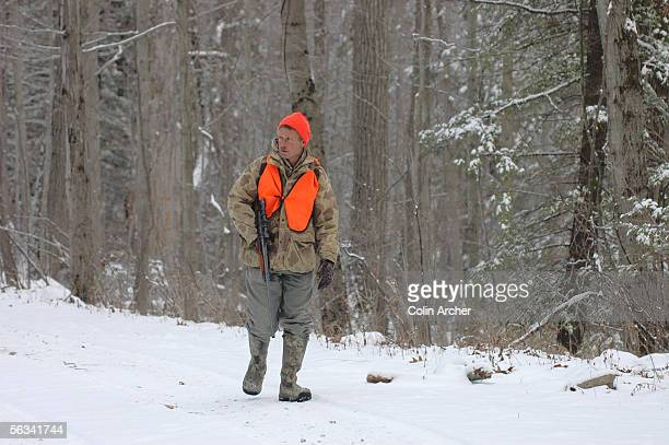 Jimmy Mancuso Woodstown New Jersey walks a trail through the deep woods of Lake Waywayanda State Park on the first day of the second New Jersey bear...