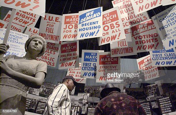 Jimmy Manning walks through an exhibit at the National Civil Rights Museum on January 17 2005 in Memphis Tenessee The museum which is located in the...