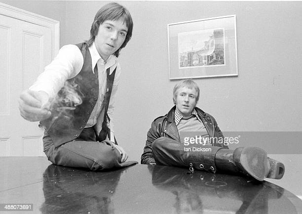 Jimmy McCulloch and Geoff Britton of Wings during an interview in London 1974