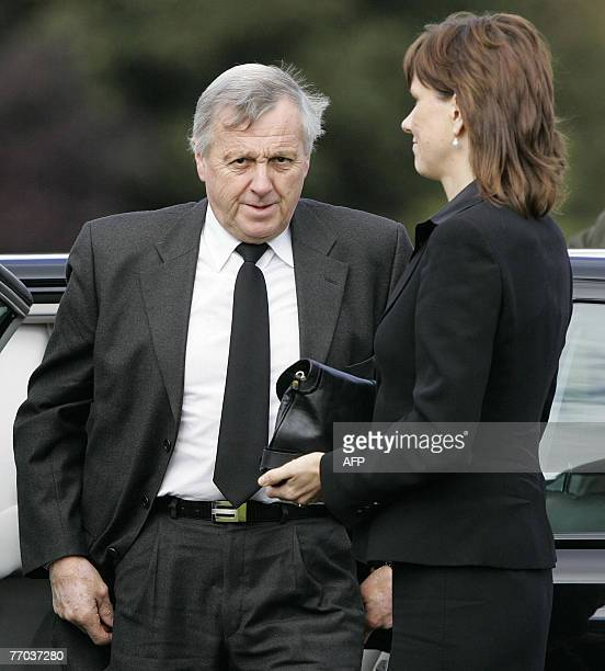 Jimmy McRae and wife Alison arrive for the funeral of his son and former rally world champion Colin McRae and grandson Johnny at East Chapel Daldowie...