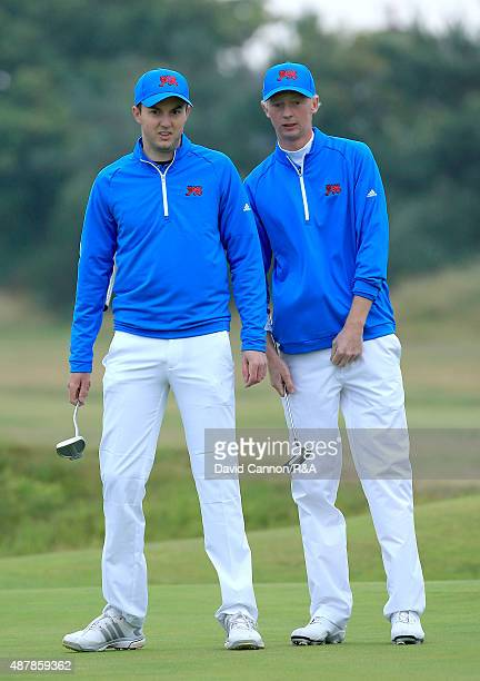 Jimmy Mullen and Ashley Chesters of Great Britain and Ireland on the first green in their match against Maverick McNealy and Hunter Stewart in the...
