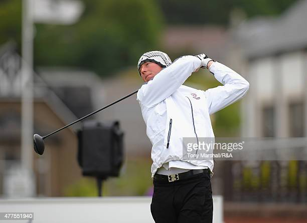 Jimmy Mullen of Royal North Devon plays his first shot on the 1st tee during The Amateur Championship 2015 - Day Four at Carnoustie Golf Club on June...