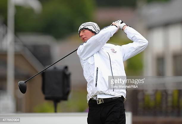 Jimmy Mullen of Royal North Devon plays his first shot on the 1st tee during The Amateur Championship 2015 Day Four at Carnoustie Golf Club on June...