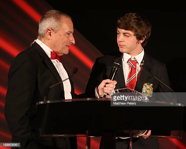 Jimmy Murphy Academy Player of the Year award winner Ben Pearson of Manchester United is interviewed by Jim Rosenthal at the club's annual Player of...