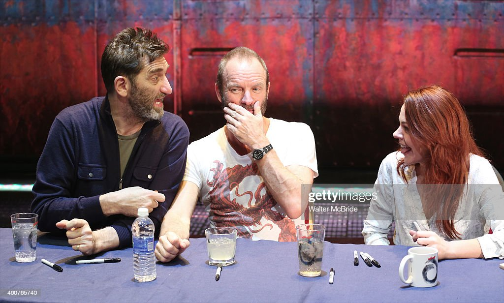 Jimmy Nail, Sting and Rachel Tucker attend the autograph signing for the Original Broadway Cast Recording of 'The Last Ship' on stage at The Neil Simon Theatre on December 21, 2014 in New York City.