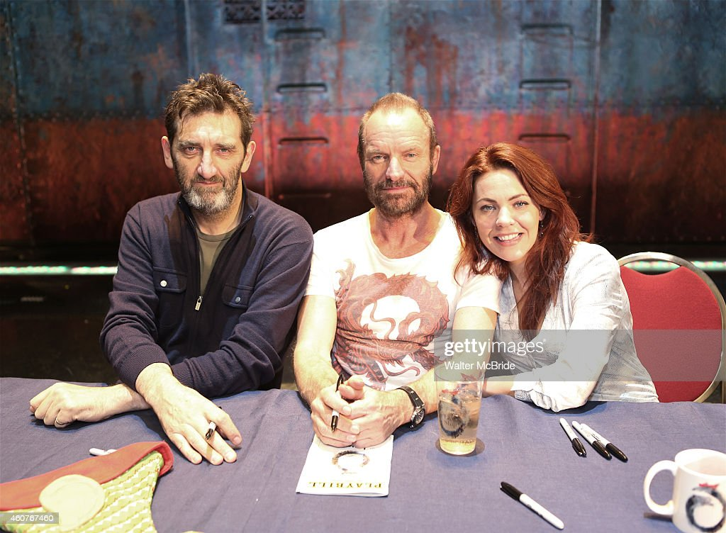 Jimmy Nail, Sting and Rachel Tucker attend the CD autograph signing for the Original Broadway Cast Recording of 'The Last Ship' on stage at The Neil Simon Theatre on December 21, 2014 in New York City.
