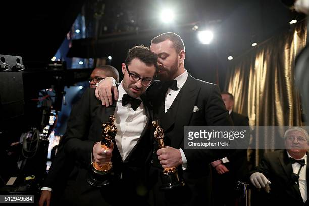 Jimmy Napes and Sam Smith attend the 88th Annual Academy Awards at Dolby Theatre on February 28 2016 in Hollywood California