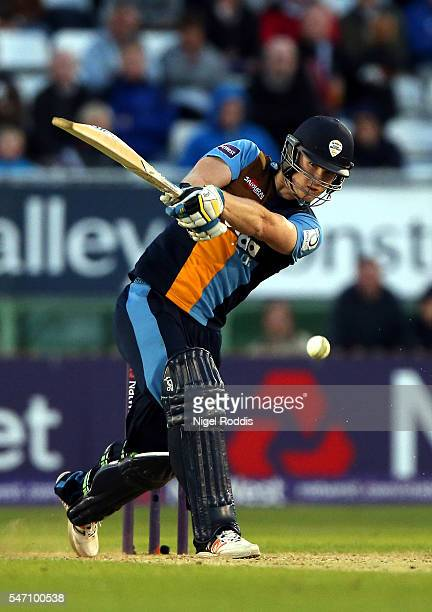 Jimmy Neesham of Derbyshire Falcons plays a shot during the NatWest T20 Blast between Derbyshire Falcons and Lancashire Lightning at The 3aaa County...