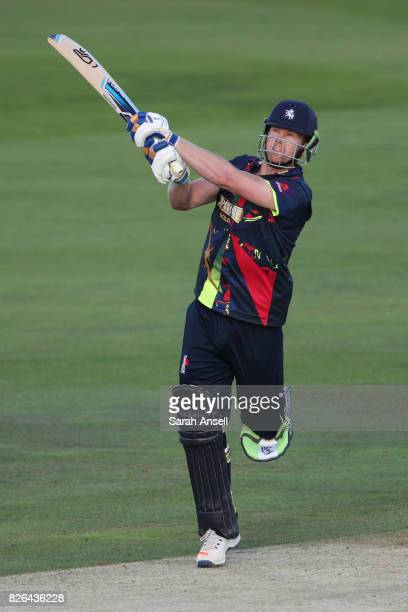 Jimmy Neesham of Kent Spitfires skies a catch and is out during the match between Kent Spitfires and Sussex Sharks at The Spitfire Ground on August 4...