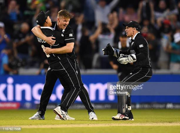Jimmy Neesham of New Zealand celebrates as New Zealand win the Group Stage match of the ICC Cricket World Cup 2019 between West Indies and New...
