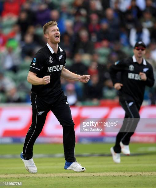 Jimmy Neesham of New Zealand celebrates taking the wicket of Najibullah Zadran of Afghanistan during the Group Stage match of the ICC Cricket World...