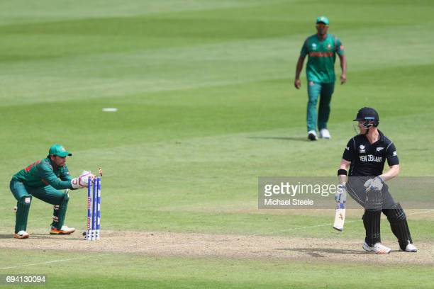 Jimmy Neesham of New Zealand is stumped by Mushfiqur Rahim off the bowling of Mosaddek Hossain during the ICC Champions Trophy match between New...