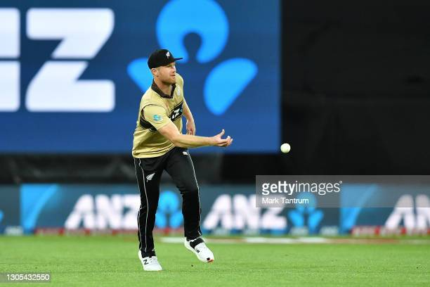 Jimmy Neesham of the Black Caps fielding during game four of the International T20 series between New Zealand Blackcaps and Australia at Sky Stadium...