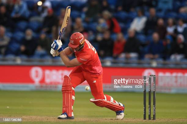 Jimmy Neesham of Welsh Fire is bowled by Wahab Riaz of Trent Rockets during The Hundred match between Welsh Fire Men and Trent Rockets Men at Sophia...