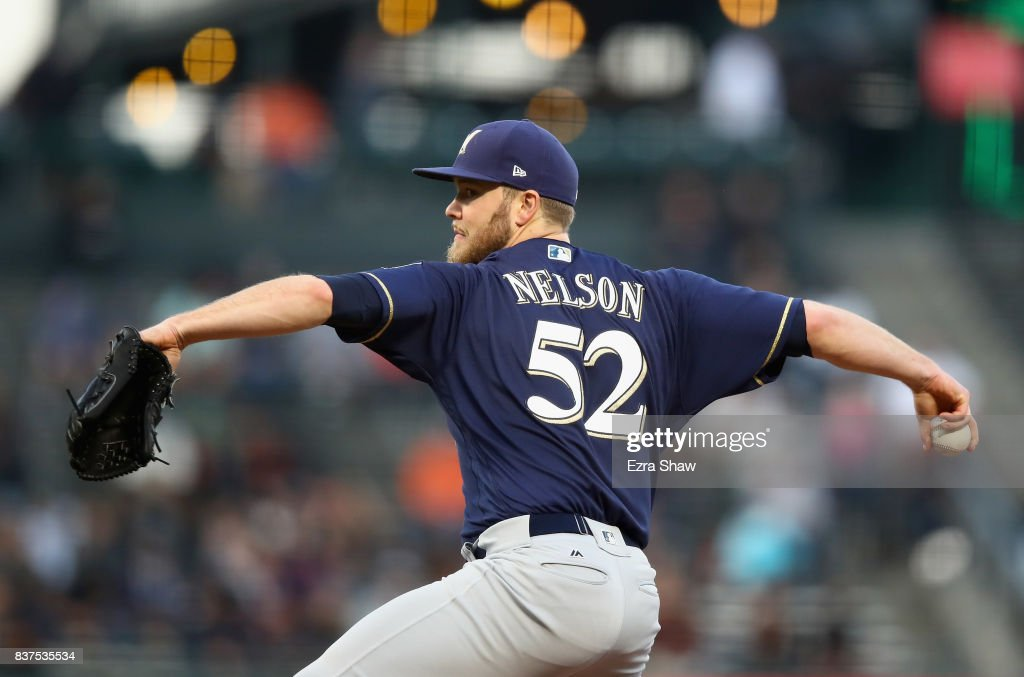Jimmy Nelson #52 of the Milwaukee Brewers pitches against the San Francisco Giants in the first inning at AT&T Park on August 22, 2017 in San Francisco, California.