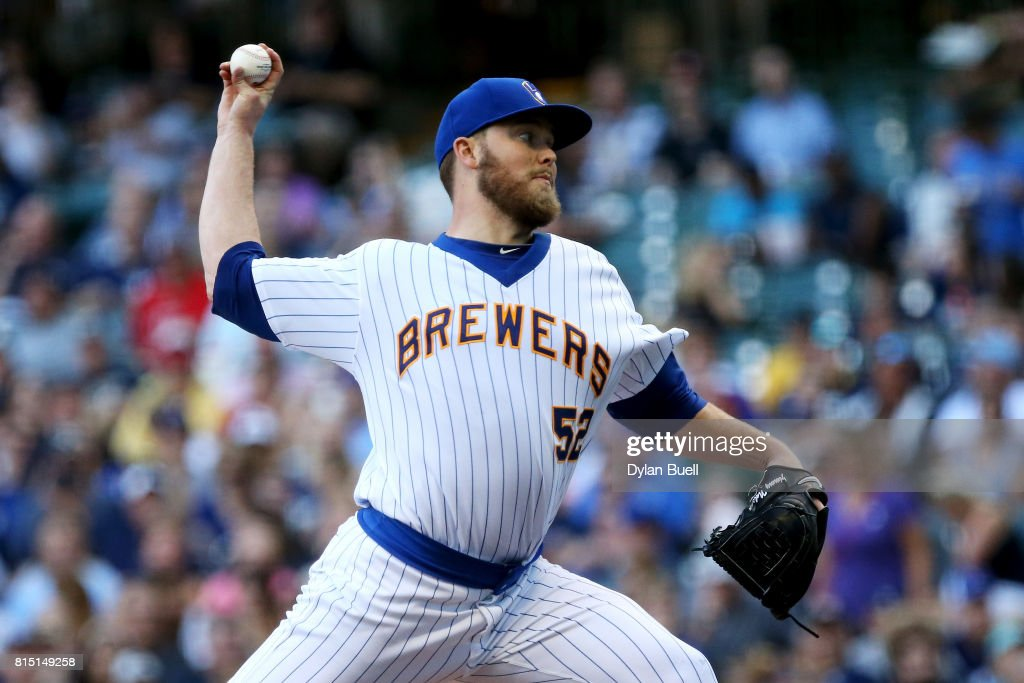 Jimmy Nelson #52 of the Milwaukee Brewers pitches in the first inning against the Philadelphia Phillies at Miller Park on July 15, 2017 in Milwaukee, Wisconsin.
