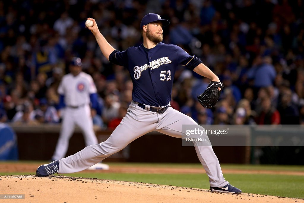 Jimmy Nelson #52 of the Milwaukee Brewers pitches in the first inning against the Chicago Cubs at Wrigley Field on September 8, 2017 in Chicago, Illinois.
