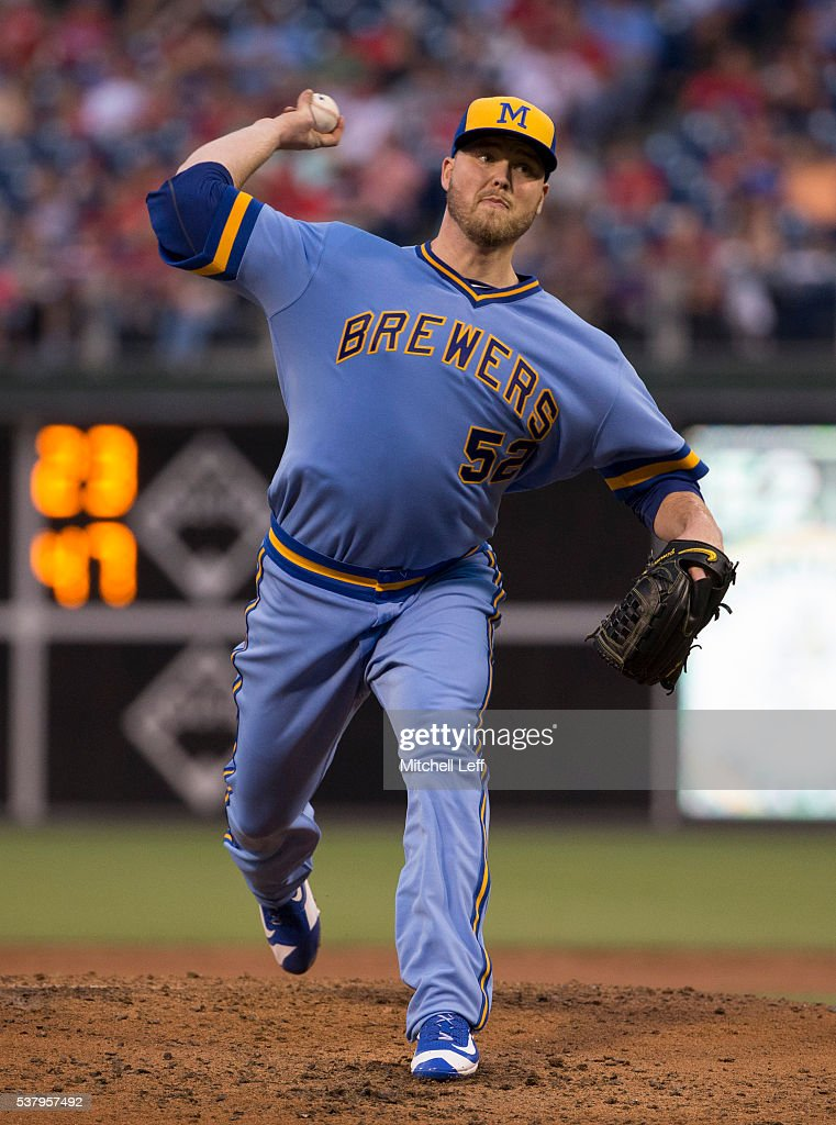 Jimmy Nelson #52 of the Milwaukee Brewers throws a pitch against the Philadelphia Phillies in the bottom of the third inning at Citizens Bank Park on June 3, 2016 in Philadelphia, Pennsylvania. The Phillies defeated the Brewers 6-3.