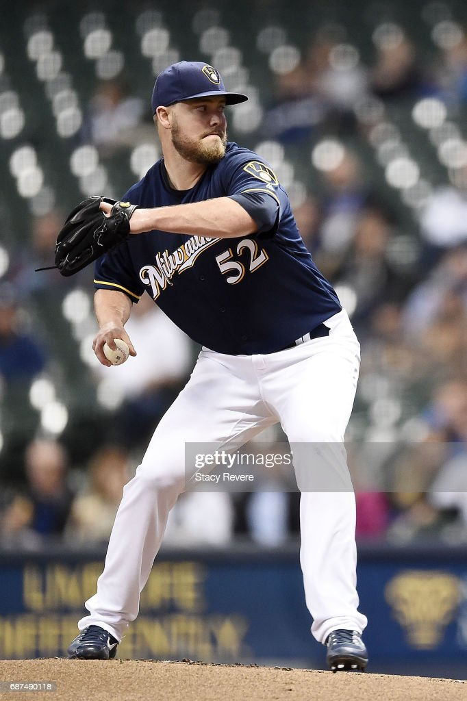 Jimmy Nelson #52 of the Milwaukee Brewers throws a pitch during the first inning of a game against the Toronto Blue Jays at Miller Park on May 23, 2017 in Milwaukee, Wisconsin.