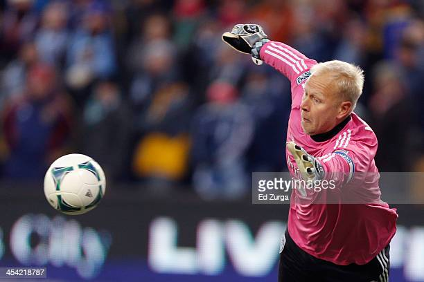 Jimmy Nielsen of Sporting Kansas City prepares to deflect a shot on goal by Real Salt Lake during the second half of the MLS Cup Final at Sporting...