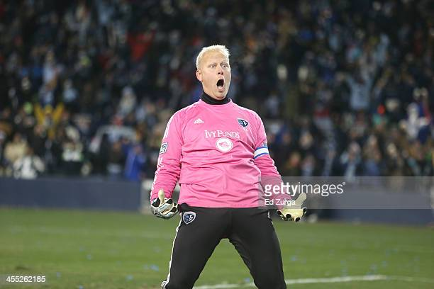Jimmy Nielsen of Sporting Kansas City reacts after blocking a penalty shot against Real Salt Lake in MLS Cup Final against the Real Salt Lake at...