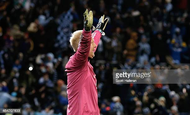 Jimmy Nielsen of Sporting KC celebrates after defeating Real Salt Lake in a shootout to win the 2013 MLS Cup at Sporting Park on December 7 2013 in...