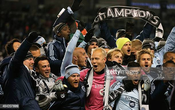 Jimmy Nielsen of Sporting KC celebrates with his teammates after defeating Real Salt Lake in penalty kicks to win the 2013 MLS Cup at Sporting Park...