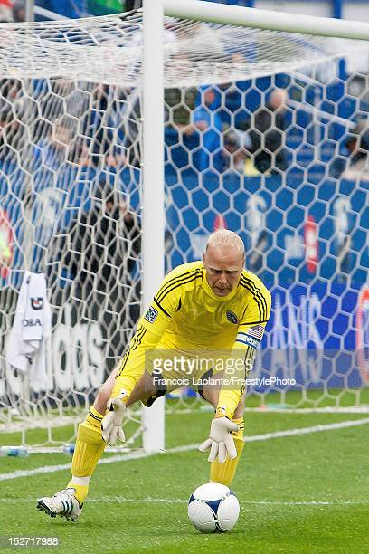 Jimmy Nielsen of the Sporing KC catches the ball during the MLS match against the Montreal Impact at Saputo Stadium on September 22 2012 in Montreal...