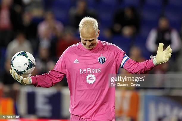 Jimmy Nielsen the Sporting Kansas City goalkeeper reacts after being yellow carded for time wasting during the New York Red Bulls V Sporting Kansas...