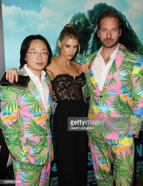 """Jimmy O. Yang, Charlotte McKinney and Ryan Hansen attend the premiere of Columbia Pictures' """"Blumhouse's Fantasy Island"""" at AMC Century City 15 on..."""