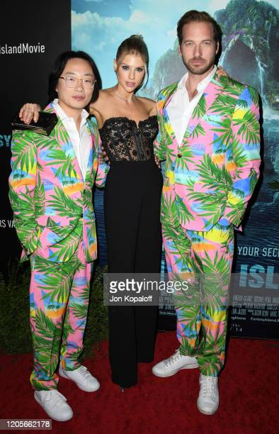 """Jimmy O. Yang, Charlotte McKinney, and Ryan Hansen attend the premiere of Columbia Pictures' """"Blumhouse's Fantasy Island"""" at AMC Century City 15 on..."""