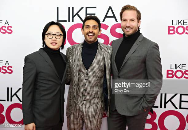 Jimmy O Yang Karan Soni and Ryan Hansen attend the world premiere of Like A Boss at SVA Theater on January 07 2020 in New York City