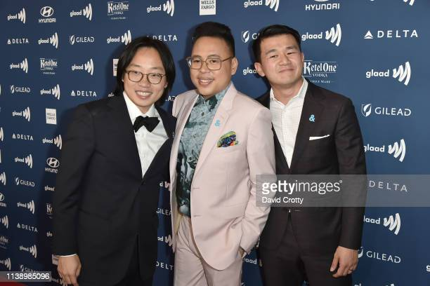 Jimmy O Yang Nico Santos and Ronny Chieng attend the 30th Annual GLAAD Media Awards at Beverly Hills Hotel on March 28 2019 in Beverly Hills...