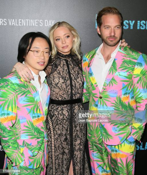 Jimmy O Yang Portia Doubleday and Ryan Hansen attend the premiere of Columbia Pictures' Blumhouse's Fantasy Island at AMC Century City 15 on February...