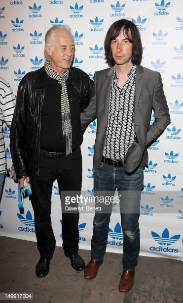 Jimmy Page and Bobby Gillespie arrive as The Stone Roses perform a secret gig at adidas Underground on August 6 2012 in London England