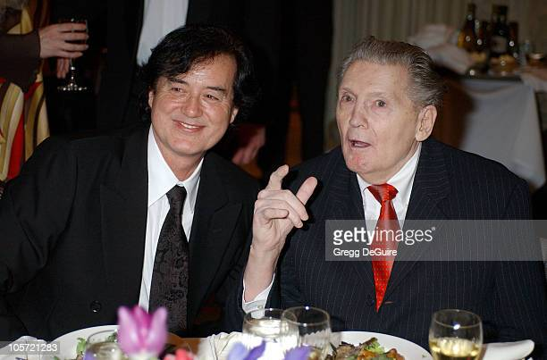 Jimmy Page and Jerry Lee Lewis during GRAMMY Special Merit Awards Ceremony Cocktails at The Biltmore Hotel in Hollywood California United States