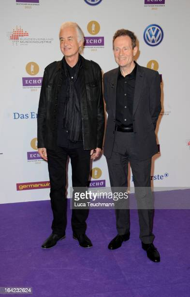 Jimmy Page and John Paul Jones attend the Echo Award 2013 at Palais am Funkturm on March 21 2013 in Berlin Germany