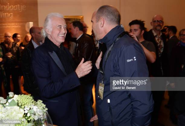 Jimmy Page and Johnny Vaughan attend the launch of Led Zeppelin by Led Zeppelin the official illustrated book marking the 50th anniversary of their...