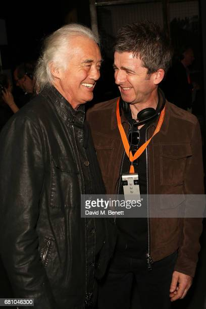 Jimmy Page and Noel Gallagher attend the 'Pink Floyd Their Mortal Remains' Gala Night at The VA on May 9 2017 in London United Kingdom