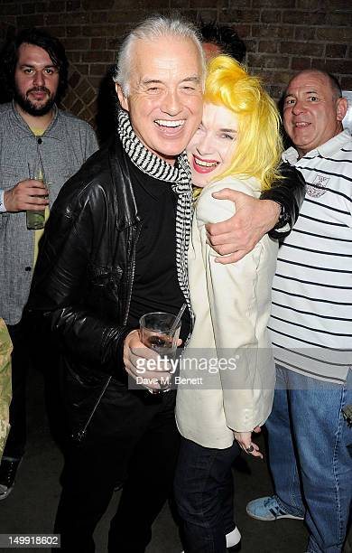 Jimmy Page and Pam Hogg attend as The Stone Roses perform a secret gig at adidas Underground on August 6 2012 in London England