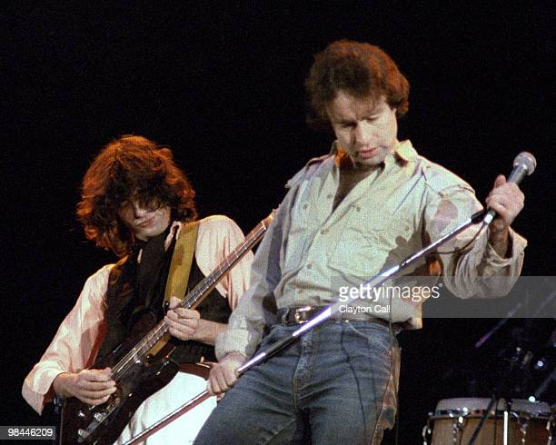 Jimmy Page and Paul Rodgers performing at the ARMS benefit concert at the Cow Palace in San Francisco on December 3 1983