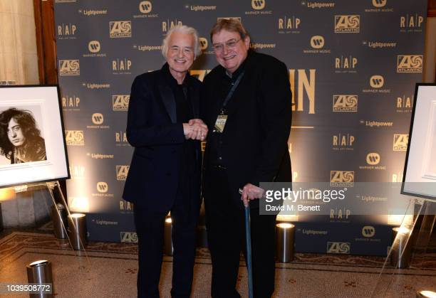 Jimmy Page and photographer Jorgen Angel attend the launch of Led Zeppelin by Led Zeppelin the official illustrated book marking the 50th anniversary...