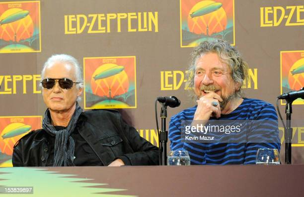 Jimmy Page and Robert Plant attend Led Zeppelin Celebration Day Press Conference on October 9 2012 in New York City Led Zeppelin's John Paul Jones...