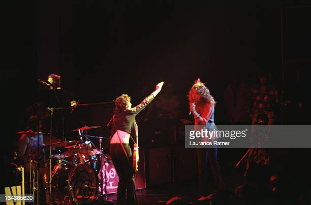 Jimmy Page and Robert Plant of Led Zeppelin during Led Zeppelin in Concert at Chicago Stadium 761973 at Chicago Stadium in Chicago Illinois United...