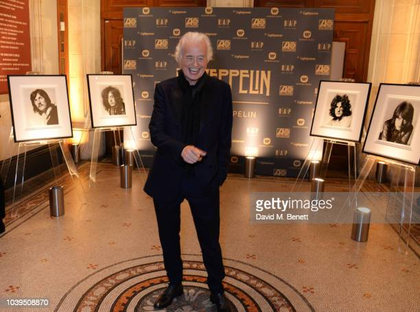 Jimmy Page attends the launch of Led Zeppelin by Led Zeppelin the official illustrated book marking the 50th anniversary of their formation at The...