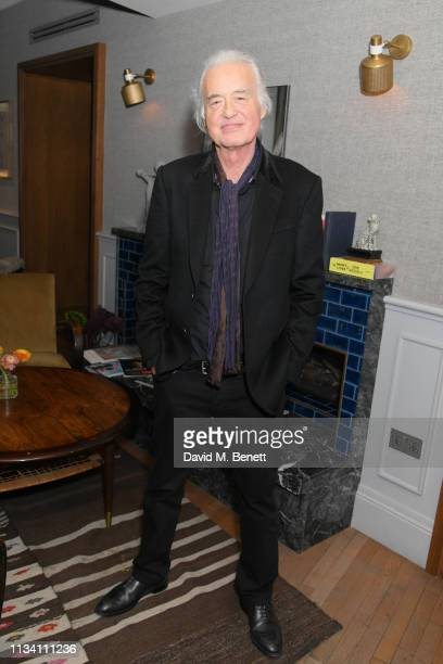 Jimmy Page attends the launch of Scarlett Sabet's new book of poetry Camille at Mortimer House on March 06 2019 in London England