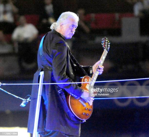 Jimmy Page Ex Led Zeppelin during the closing ceremony of the Summer Olympic Games in Beijing China 24th August 2008.