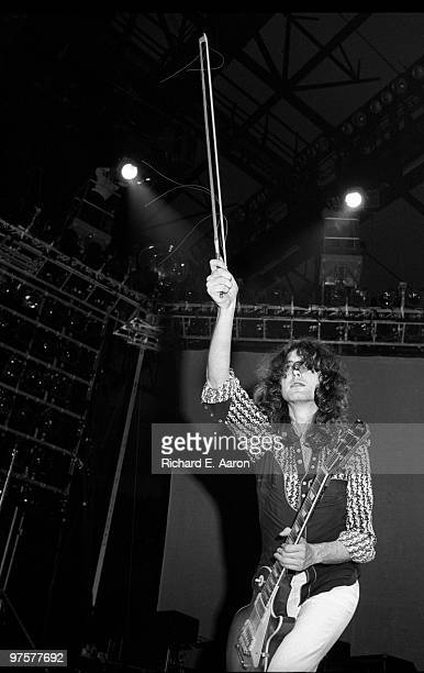 Jimmy Page from Led Zeppelin performs live on stage at Nassau Coliseum during their 1975 US tour on February 14 1975