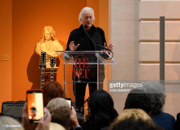 Jimmy Page guitarist and Led Zeppelin founder speaks during a media preview for an exhibit called Play It Loud Instruments of Rock and Roll at the...